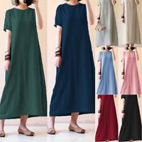 Women Summer Short Sleeve Evening Party Dress Loose Kaftan Maxi Shirt Dress Plus