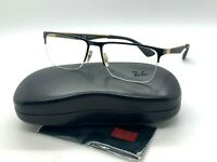 New Authentic Ray Ban RX 6335 2890 Gold BLACK/GOLD Eyeglasses 56-17-145MM /CASE