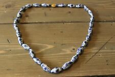 Vintage Chinese Blue & White Porcelain Flower Beaded Necklace
