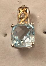 9ct White & Yellow Gold Blue Topaz & Diamond Pendant (6x15mm) - New RRP £145