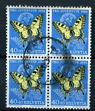 Switzerland 1954 SG#J156 40c Butterflies Used Block Cat £44 #A58521