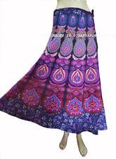 Indian Traditional 100% Cotton Women Long Mandala Skirt Wrap Maxi Peacock Print