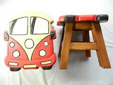 Childs Childrens Wooden Stool - Red Camper Van Step Stool