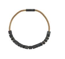 Maison Margiela logo beaded bracelet Oxidised silver leather size medium