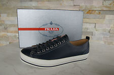 Prada size 39,5 5,5 Sneakers Lace Up Shoes Shoes Blue+White NEW
