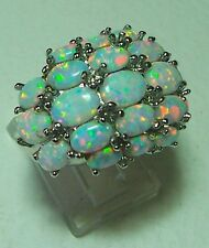 STUNNING LARGE SILVER &  OPAL COCKTAIL RING