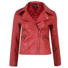 18 Sping Women Punk Slim Biker Motorcycle Short Jacket Lapel PU Leather Coat
