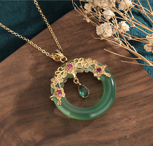 Natural Jade Jewelry Pendant with Chain Necklace 24K Gold Plated