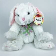 "Melissa & Doug Plush Blossom Bunny Rabbit Stuffed Animal Toy White Pink 10"" New"