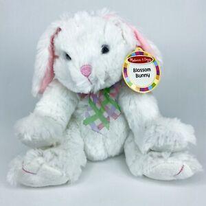 "Melissa & Doug Plush Blossom Bunny Rabbit Stuffed Animal Toy White Pink 10"" New"