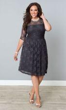 Kiyonna Women's Dress Gray Plus Size 1X 14 16 Luna Lace Style Cocktail Party