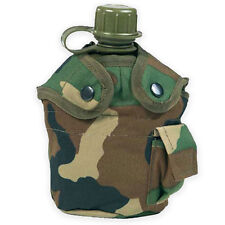 Army Water Bottle, Mug & Pouch Set Canteen Camping Hiking Military Woodland Camo
