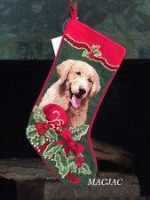 Golden Retriever Dog Needlepoint Christmas Stocking NWT
