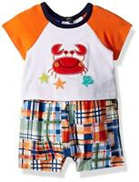 NWT Bonnie Baby Boys Crab Shirt Plaid Shorts Romper Sunsuit Jumpsuit Shortall