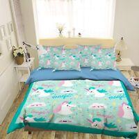 3D Lovely Unicorn 53 Bed Pillowcases Quilt Duvet Cover Set Single Queen King AU