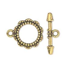 8818FX Toggle Clasp, Antiqued Gold ptd Pewter, Large Round Flower, 20mm, 10 sets