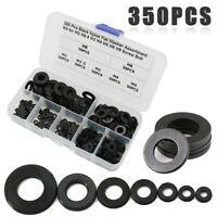 350 piezas Wear And Durable Nylon Plastic Washer Flat Gasket Ring Kit M2//M2.5//M3//M4//M5//M6//M8 Negro para Industrial Nylon Spacer