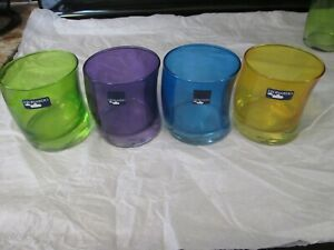 LEONARDO (GERMANY) SWING COLORED DOUBLE OLD FASHIONED TUMBLERS set of 4