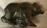 "Vintage Pewter Bear Sculture Figurine - 3"" x 1 3/8"" - Solid"