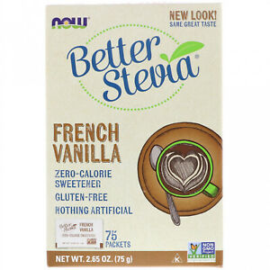 Now Foods, BetterStevia, Zero Calorie Sweetener, French Vanilla, 75 Packets, (1
