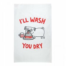 PUG TEA TOWEL 'I'LL WASH YOU DRY' QUIRKY IMAGE - GEMMA CORRELL Gift Present Shop