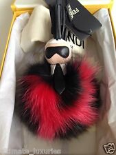 FENDI SUPER KARLITO TOP BROWN RED FOX FUR BUG MONSTER DRESS BAG CHARM NEW
