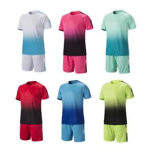 Youth Adult Football Training Suit Soccer Jerseys Shirts + Shorts Set Uniform TR
