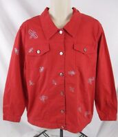 Quacker Factory Womens Coat Jacket Red Fits L Embellished Dragonfly Button GG407