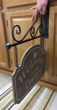 Welcome To The Country W/ Bracket Sign Wall Farmhouse Decor Vintage Style Wood