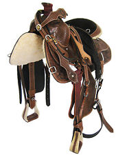"'THSL' WESTERN ROPING SADDLE SET-FULL CARVED RH LACING OIL BROWN 15""  (1001OB3)"