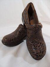 Born Concept BOC Brown Leather Paisley Clog Shoes Size 7.5.