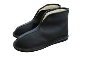 Womens Mens Unisex Natural Leather And Sheep's Wool Slipper Boots