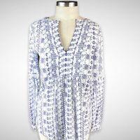 LOFT Ann Taylor Floral Boho Peasant Top Blouse Size XS White Blue