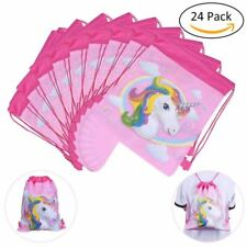 24 Pack Unicorn Gifts Bags Kids Girls Drawstring Party Favors Bag Backpack