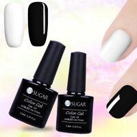 2x 7.5ml Soak Off UV Gel Polish Shiny Black White Manicure Nail Art LED Lamp Gel