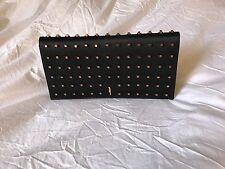 Maiyet Venus Black Leather & Silk Satin Clutch w Copper Studs, New
