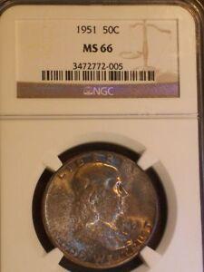 1951 Rainbow Toned MS 66 NCG Certified Franklin Silver Half Dollar