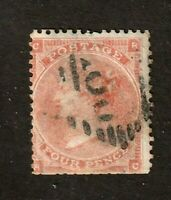 Great Britain stamp #34, used, 4p Vermillion, wmk. 23,  1862,  SCV $75