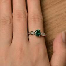2Ct Oval Cut Green Emerald Diamond Solitaire Engagement Ring 14K White Gold Over