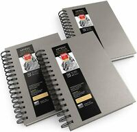 "ARTEZA Sketchbook, Spiral-Bound Hardcover, Gray, 5.5"" x 8.5"" - Pack of 3"