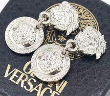 GIANNI VERSACE Medusa Dangle Earrings Silver tone Charm Excellent w/BOX #718