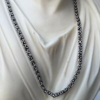 925 Silver Sterling 3.5mm 22Inch Men Wheat Braid Link Rolo Chain Necklace 21GR