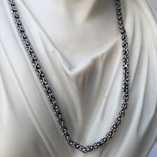 Braid Link Rolo Chain Necklace 21Gr 925 Silver Sterling 3.5mm 22Inch Men Wheat