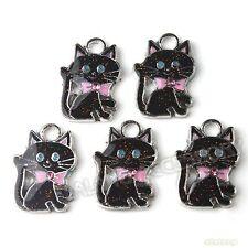 20x Hot Sale Charms Multicolor Enemal Cats Alloy Pendants Fit Necklaces DIY L