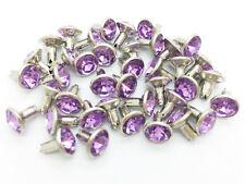 40Sets 7mm Light Purple Lilac Synthetic Crystal Rhinestone Rivets Leather Rv6126