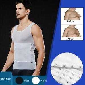 Mens Slimming Body Shaper Shirt Adjustable Compression Tummy Belly Corset Vest