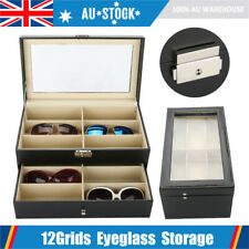 12 Grids Sunglasses Glasses Display Storage Case Box Organizer Holder w/ Drawer