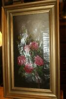 "Antique Framed Oil on Canvas Roses Circa 1890's 11"" x 20-1/2"""