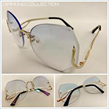 3a696c91f7 OVERSIZED Designer LUXURY Retro Style SUN GLASSES Diamond Cut Blue   Clear  Lens