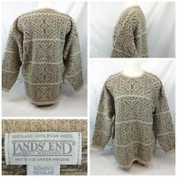 Lands End Fisher Sweater M Women 100% Wool Made In England EUC F5572 YGI